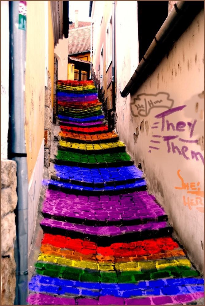 rainbow coloured steps